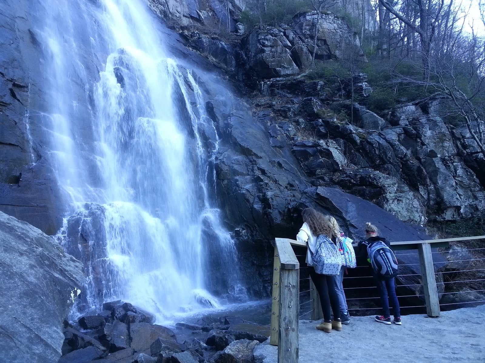 Students enjoy waterfall off campus